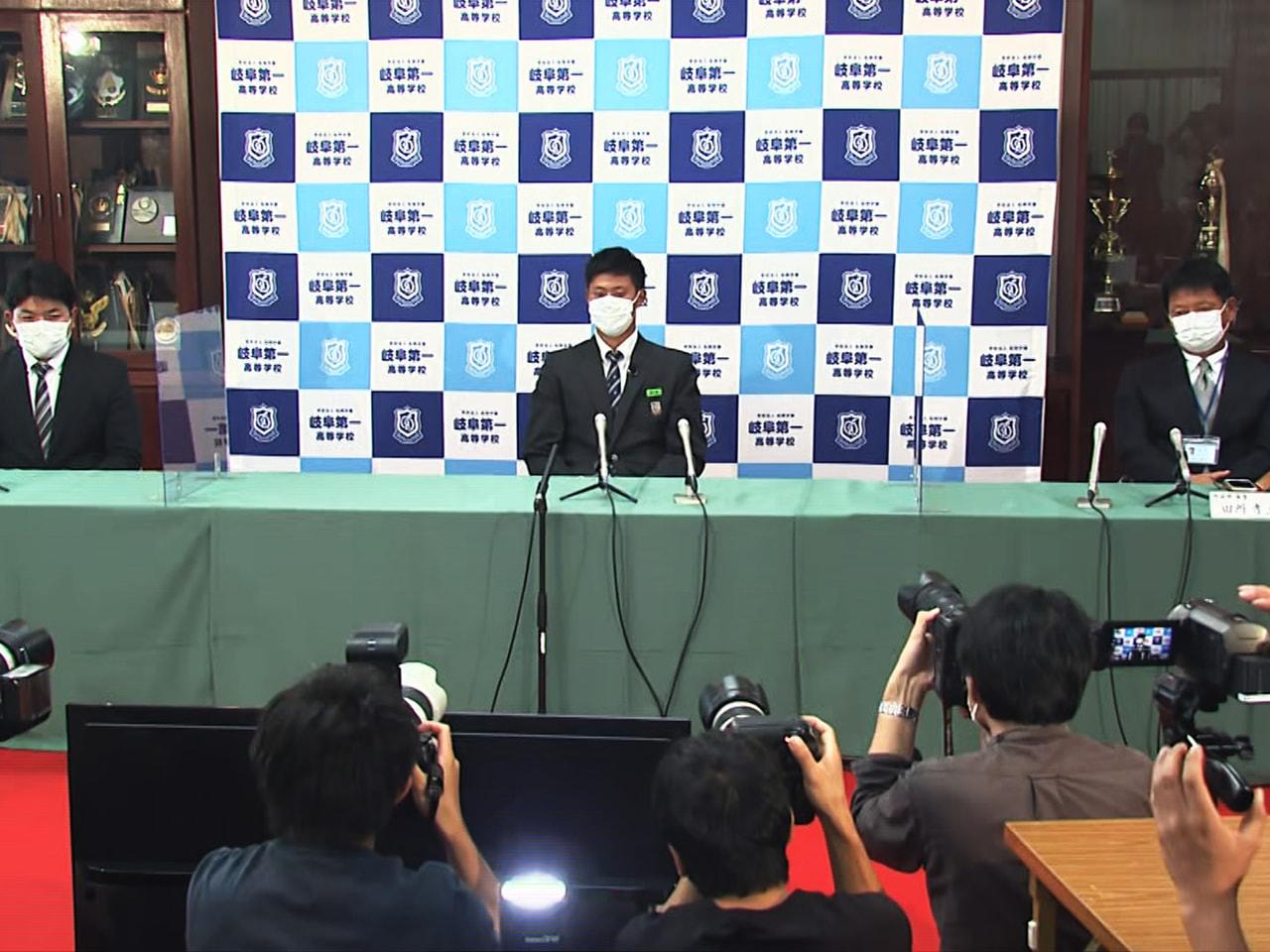 プロ野球ドラフト会議が11日開かれ、岐阜第一高校の阪口樂選手が日本ハムから4位で...