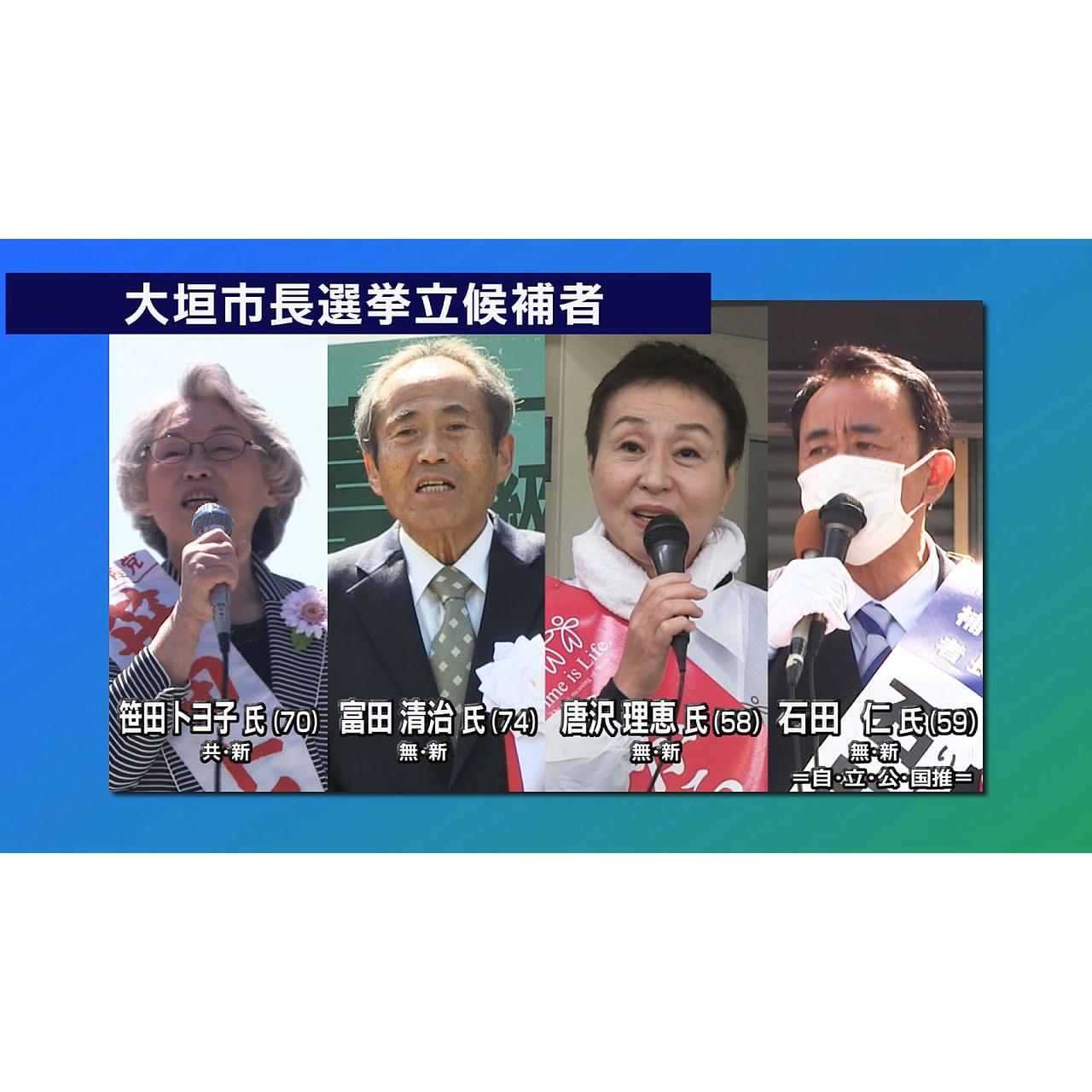 18日に投開票される大垣市の市長選挙では、新人4人が連日、舌戦を繰り広げています...