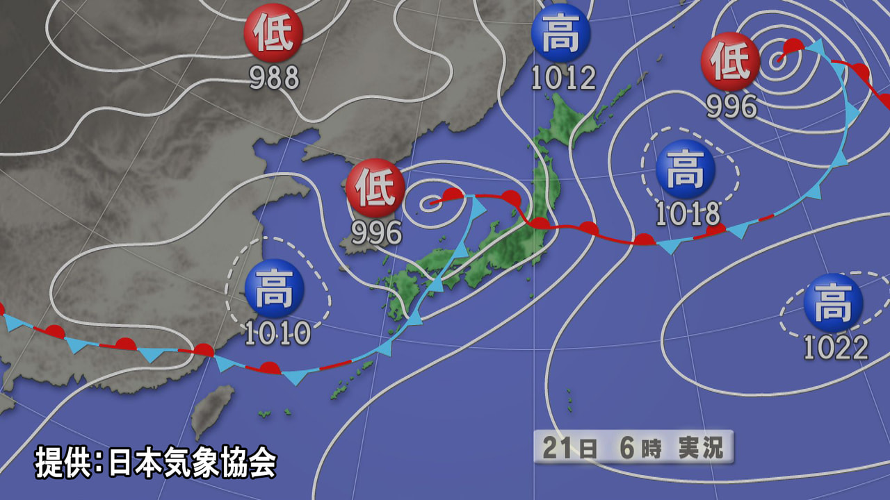 梅雨前線の活動が活発になっている影響で、岐阜県は、21日昼前にかけて雷を伴って激...