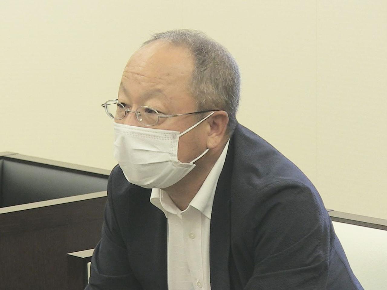 東邦ガスの岐阜地域支配人に就任した大塚淳人さんが岐阜放送本社を訪れ、「エネルギー...