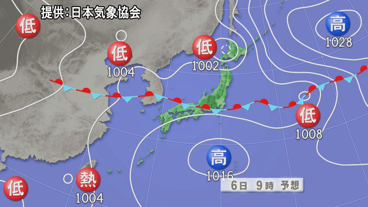 停滞する梅雨前線の影響で、岐阜県は引き続き大気の状態が不安定となり、6日にかけて...
