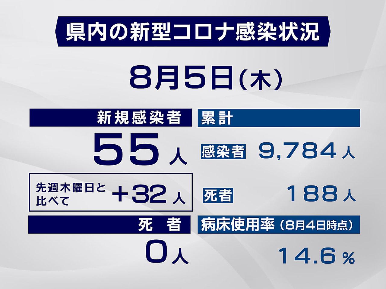 岐阜県と岐阜市は5日、新型コロナウイルスの感染が新たに55人確認されたと発表しま...