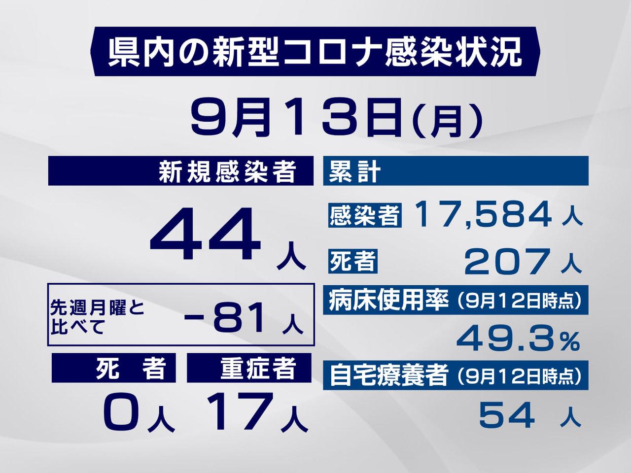 岐阜県と岐阜市は13日、新型コロナウイルスの感染が新たに44人確認されたと発表し...