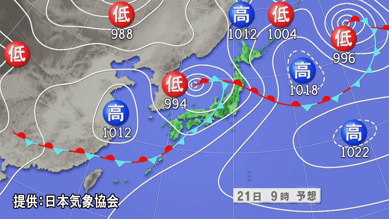 梅雨前線や低気圧の影響で岐阜県は、21日昼前にかけて雷をともなって激しい雨が降り...