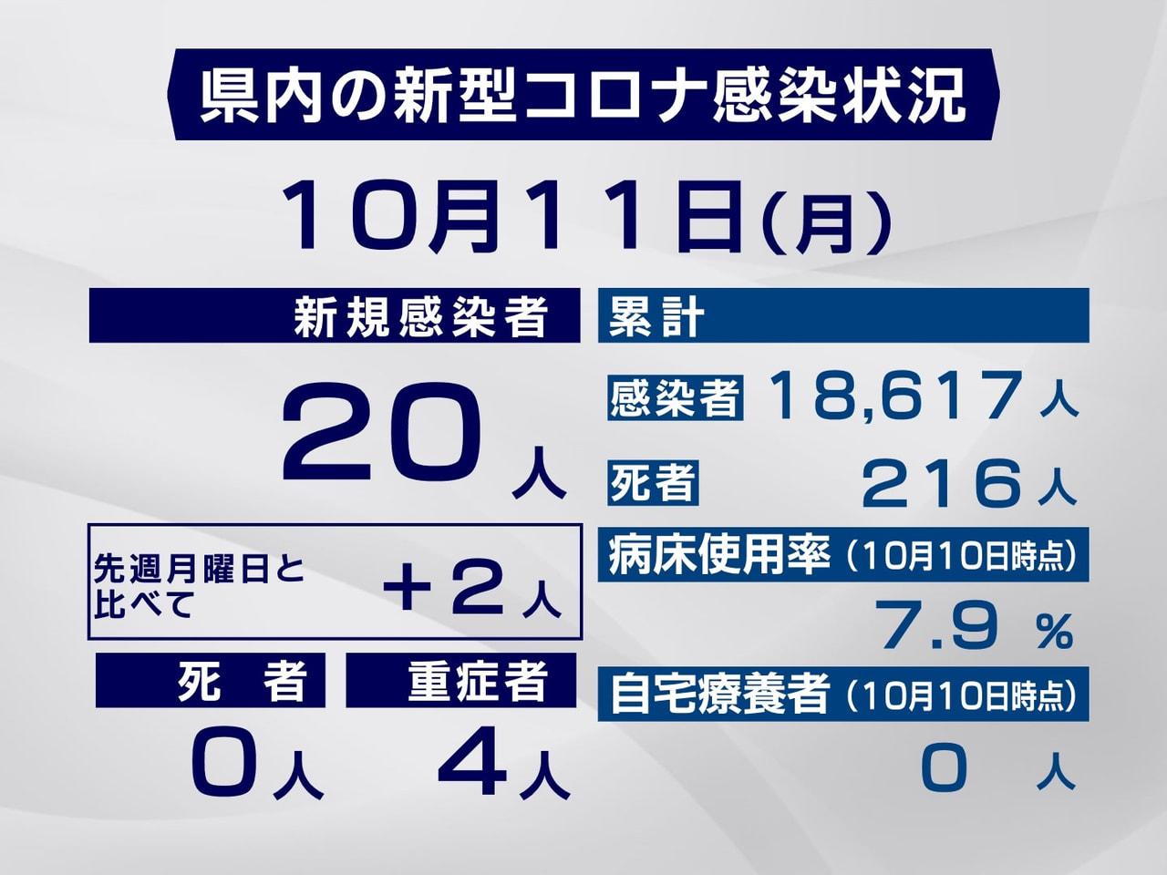 岐阜県と岐阜市は11日、新型コロナウイルスの感染者が新たに20人確認されたと発表...